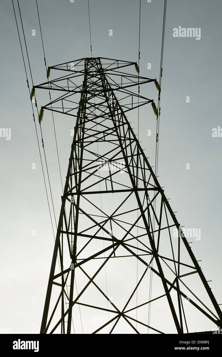 ELECTRICITY PYLON AGAINST A GREY GRAY SKY - Stock Image