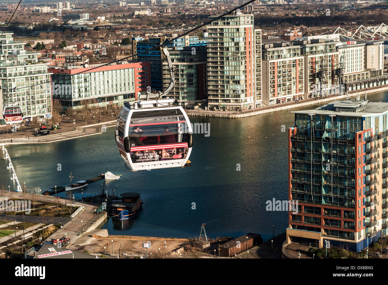 Emirates Air Line Cable Car crosses River Thames between the O2, North Greenwich, SE London & Royal Victoria Docks & ExCeL Arena - Stock Image
