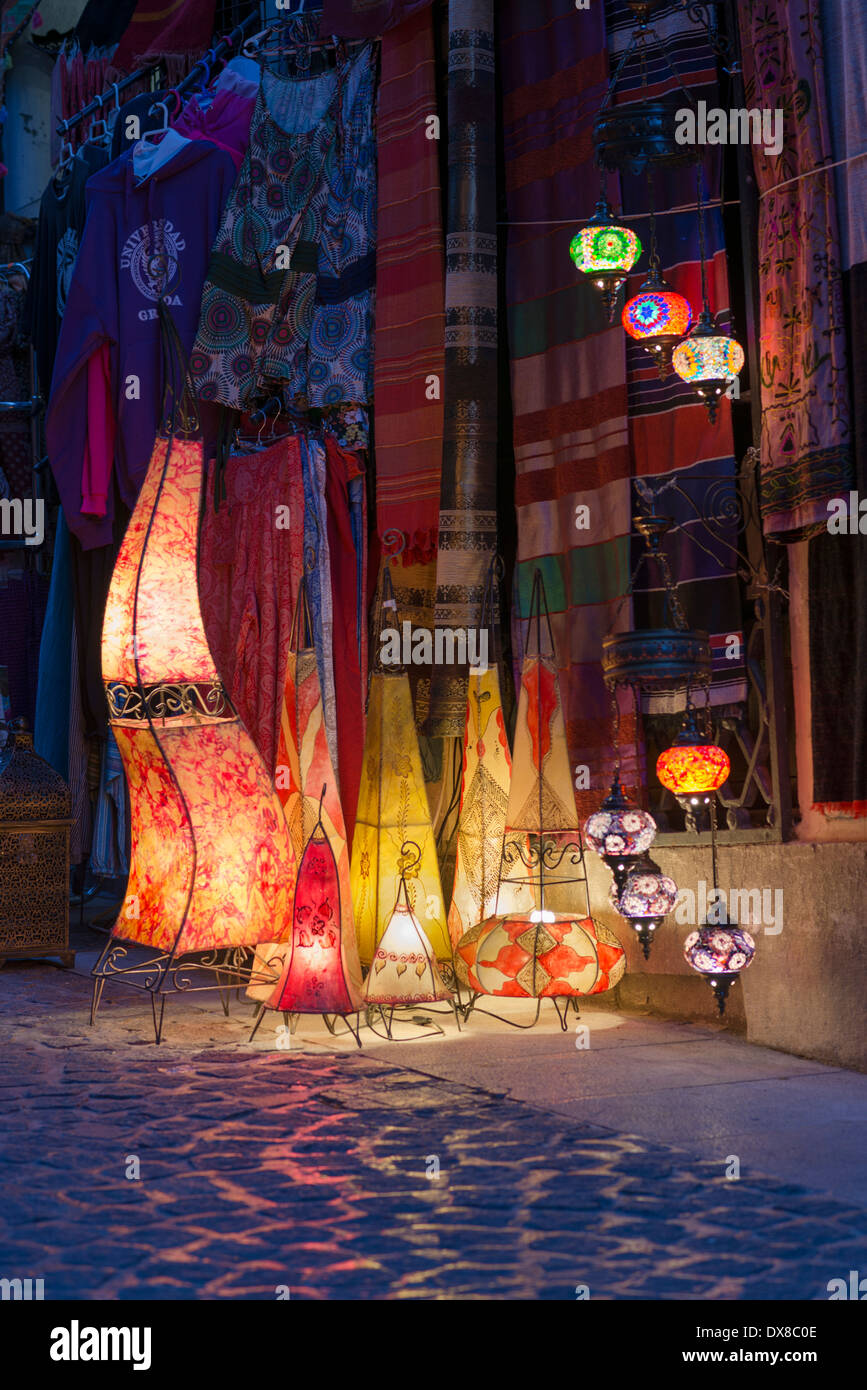 Colourful lamps on display outside a shop in El Albayzin Granada Spain - Stock Image