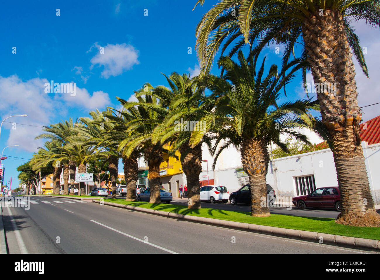 Calle Leon y Castello street, Puerto del Rosario, Fuerteventura, Canary Islands, Spain, Europe - Stock Image