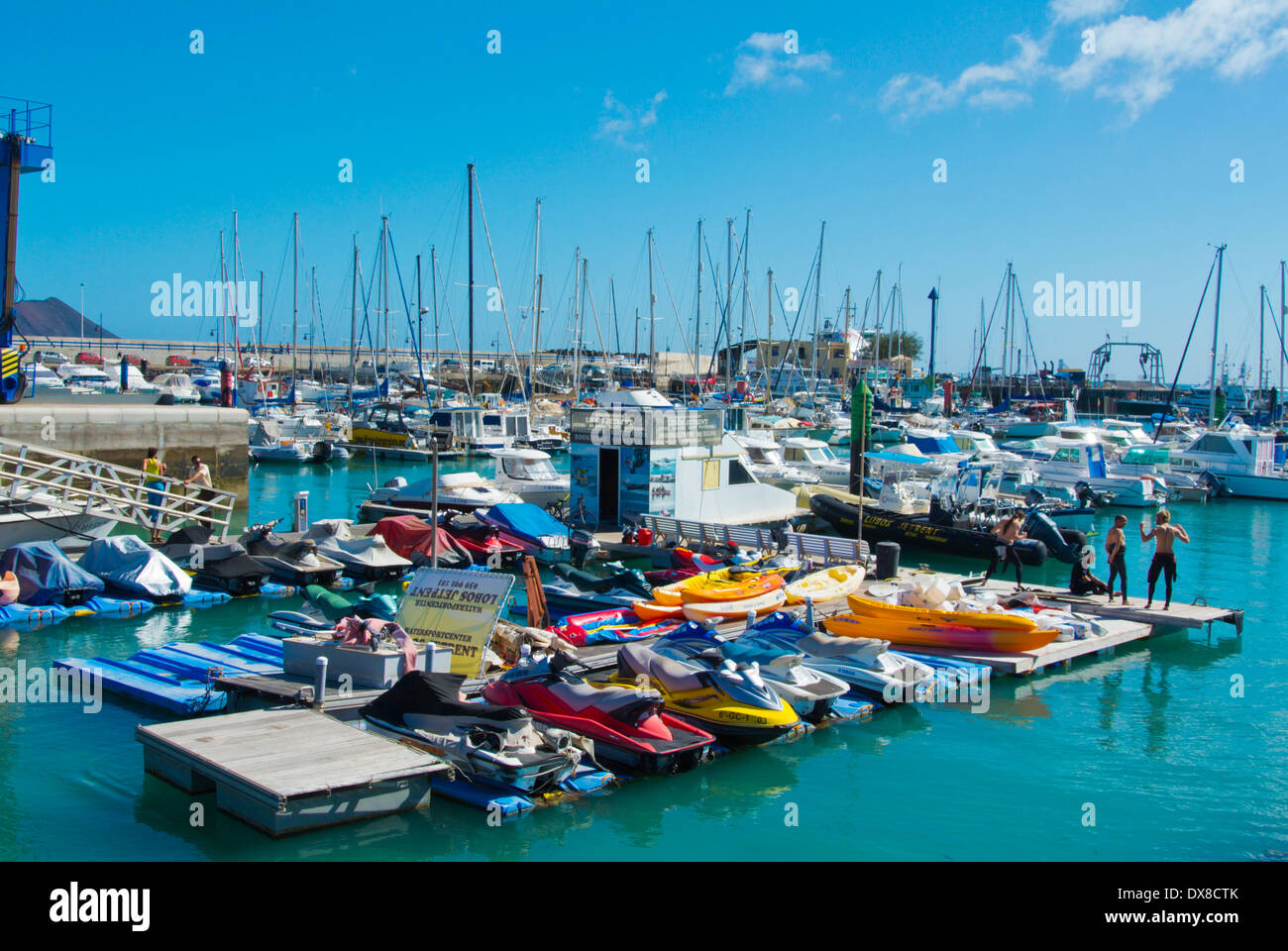 Watersports center equipment rental, Puerto de Corralejo, the port, Corralejo, Fuerteventura, Canary Islands, Spain, Europe - Stock Image