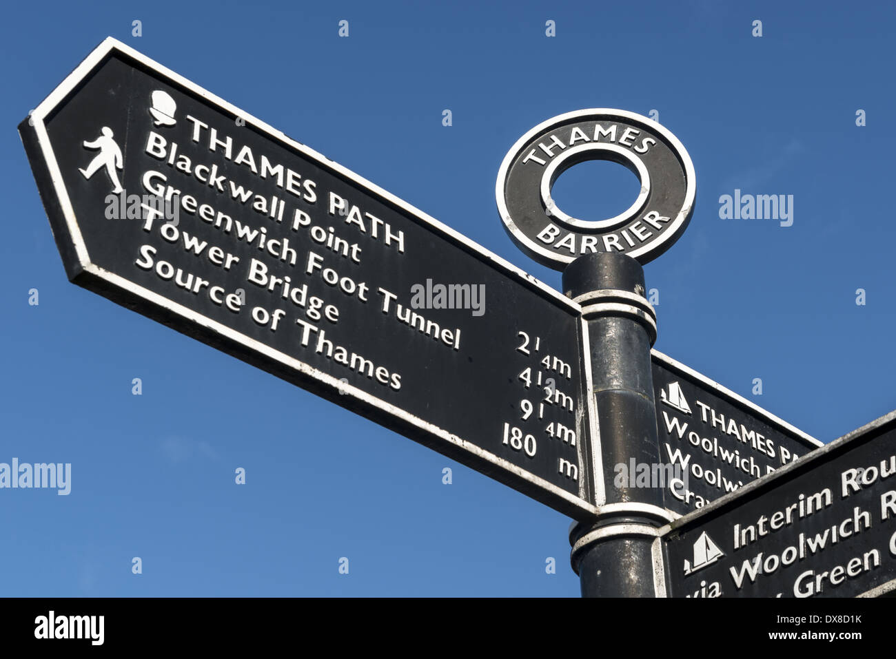 Signpost at the Thames Barrier which is located downstream of central London, United Kingdom, operational since 1982, with its - Stock Image