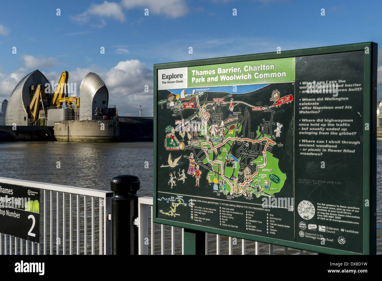 Information sign at the Thames Barrier which is located downstream of central London, United Kingdom, with its purpose is to - Stock Image