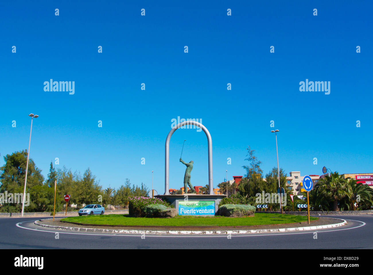 Golf club advert in a roundabout, Caleta de Fuste, Fuerteventura, Canary Islands, Spain, Europe - Stock Image