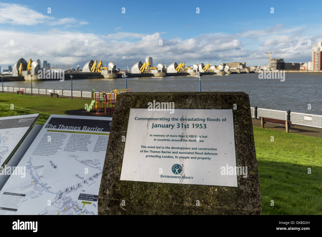 Memorial commemorating the davasting floods of January 31st 1953, the event that led to the development and construction of the - Stock Image