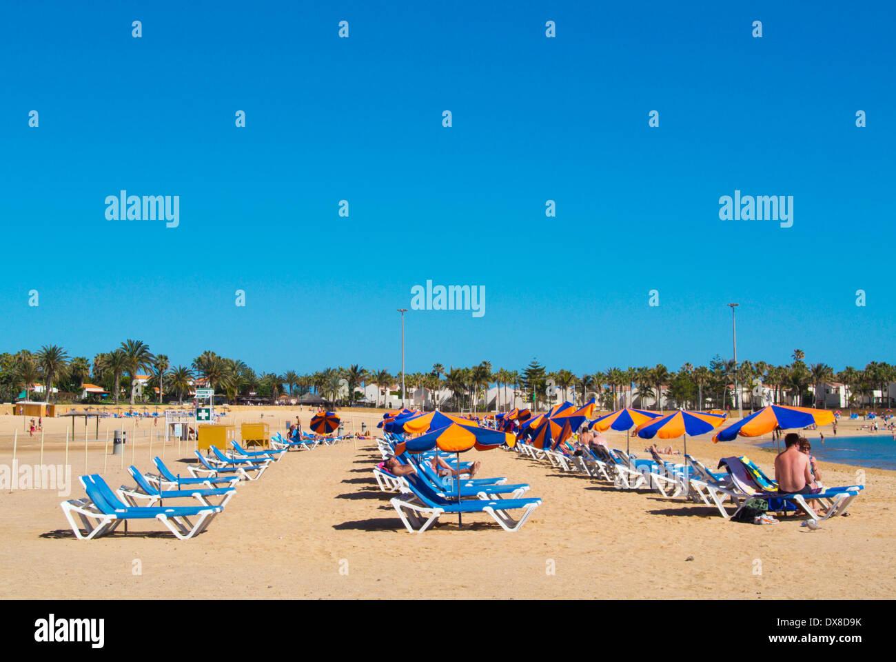 La Playa el Castilo main beach, Caleta de Fuste, Fuerteventura, Canary Islands, Spain, Europe - Stock Image