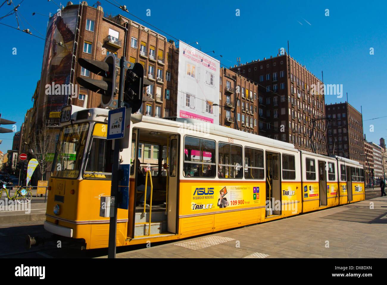 Tram 49 at terminal stop, Karoly korut bouleard, central Budapest, Hungary, Europe - Stock Image