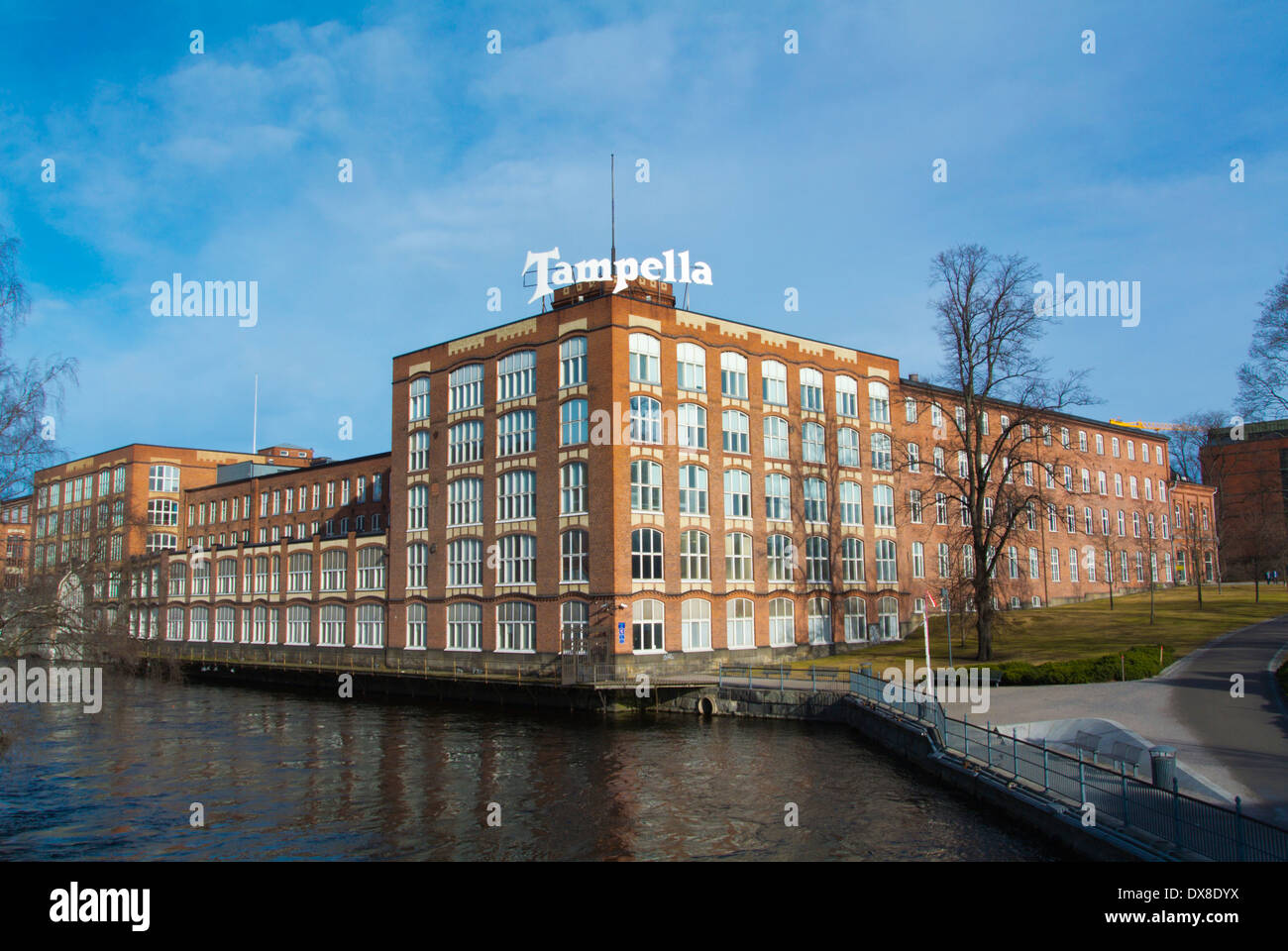 Tampella, converted former industrial buildings by Tammerkoski river, central Tampere, central Finland, Europe - Stock Image