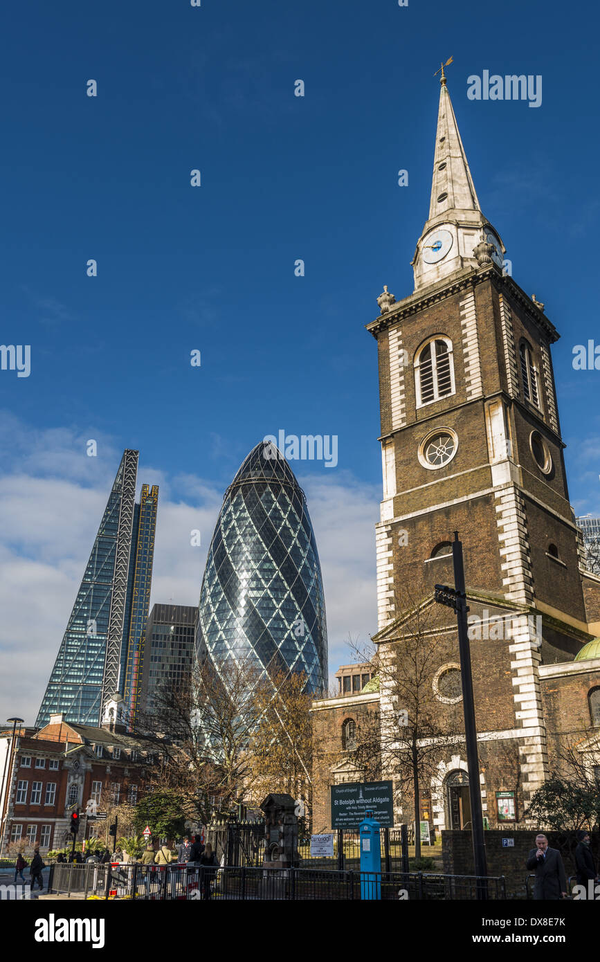 St Botolph's Church, Aldgate, St Botolph-without-Aldgate, or just Aldgate Church, is a Church of England parish church in the - Stock Image