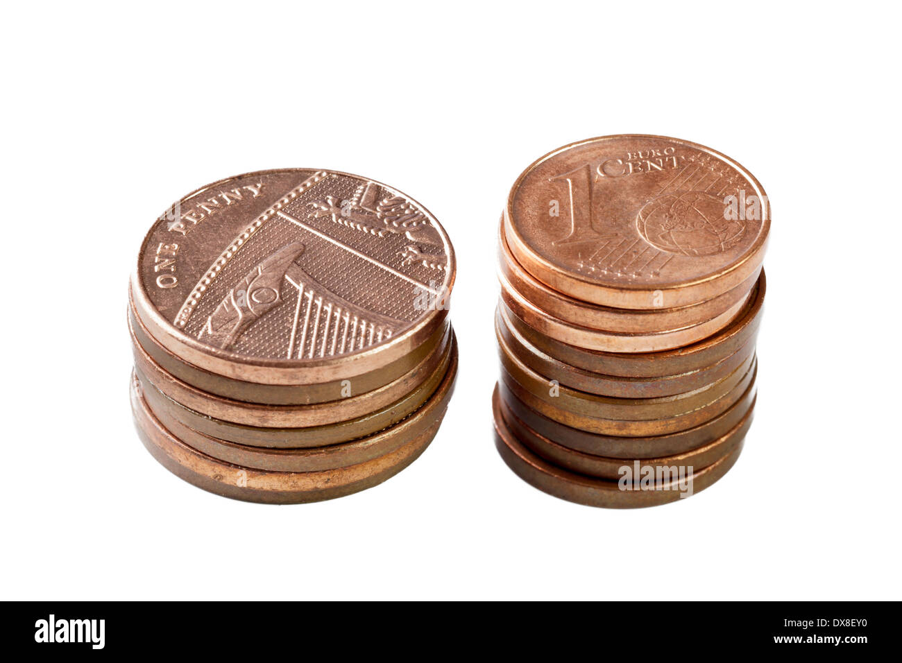 British pennies and Euro cent coins - Stock Image