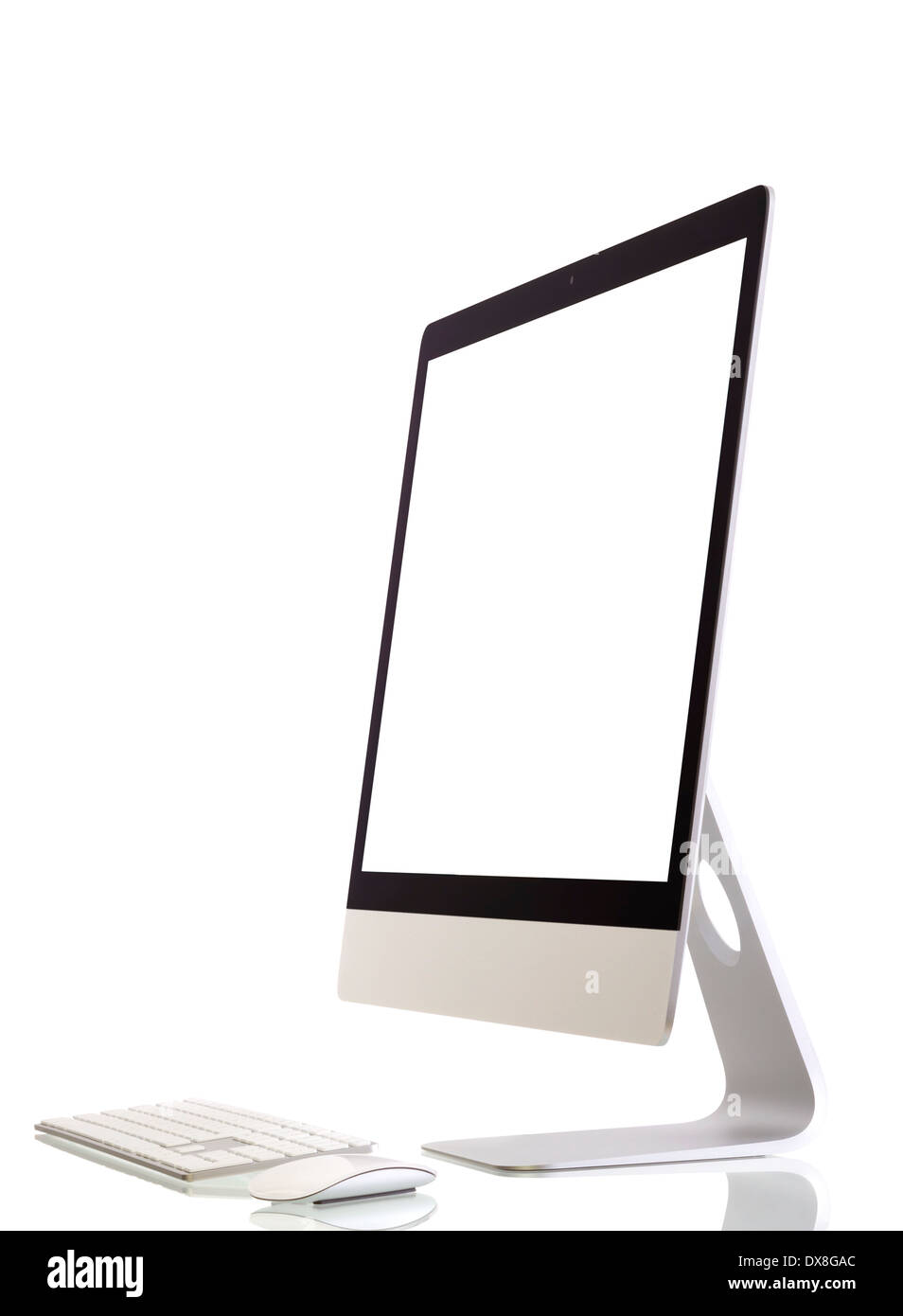 Illustration of modern computer monitor with blank screen. Isolated on white. added for screen. - Stock Image