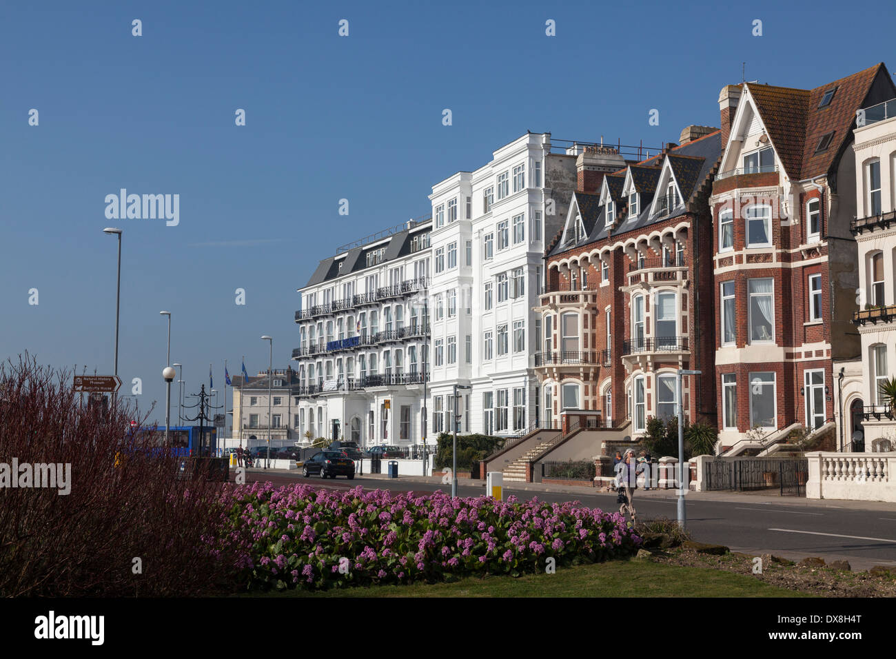 Hotels on the seafront promenade at Southsea. - Stock Image