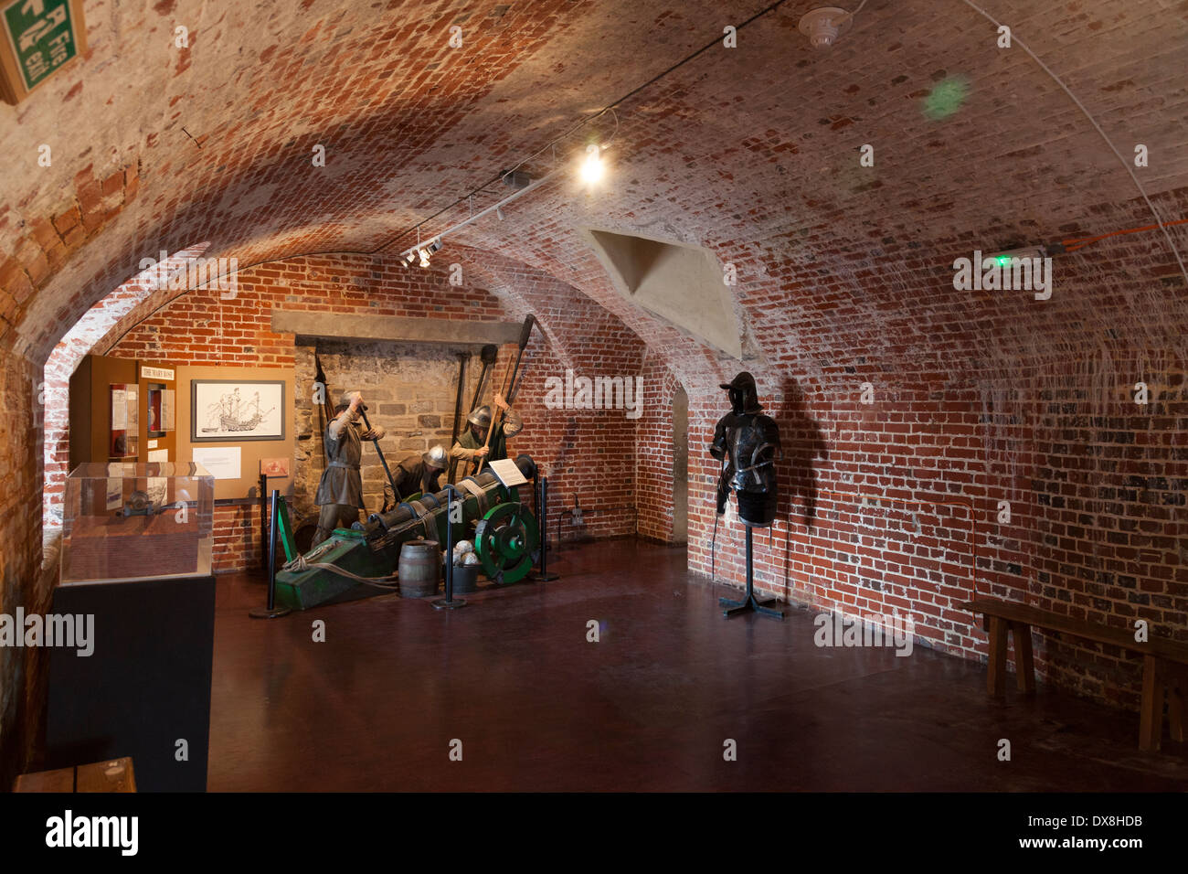 Inside the museum at Southsea Castle. - Stock Image