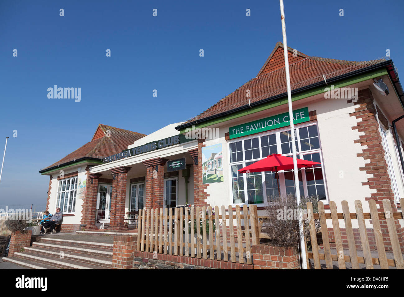 Southsea Tennis Club clubhouse exterior. - Stock Image