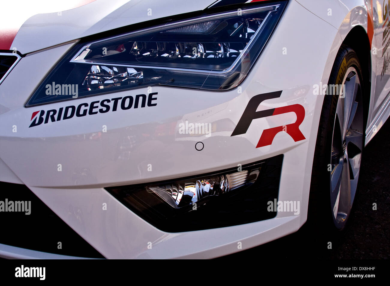 The new seat leon sports car with bridgestone tyres sticker on the front at the alistair fleming car showroom in dundee uk