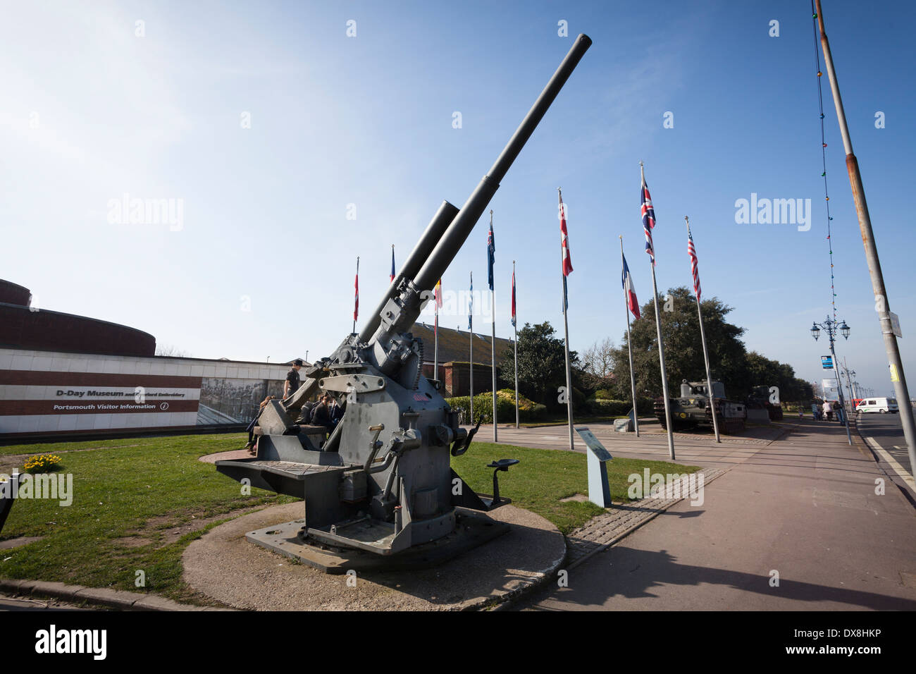 3.7 inch Mark II anti-aircraft cun on display outside the D-Day museum at Southsea. - Stock Image
