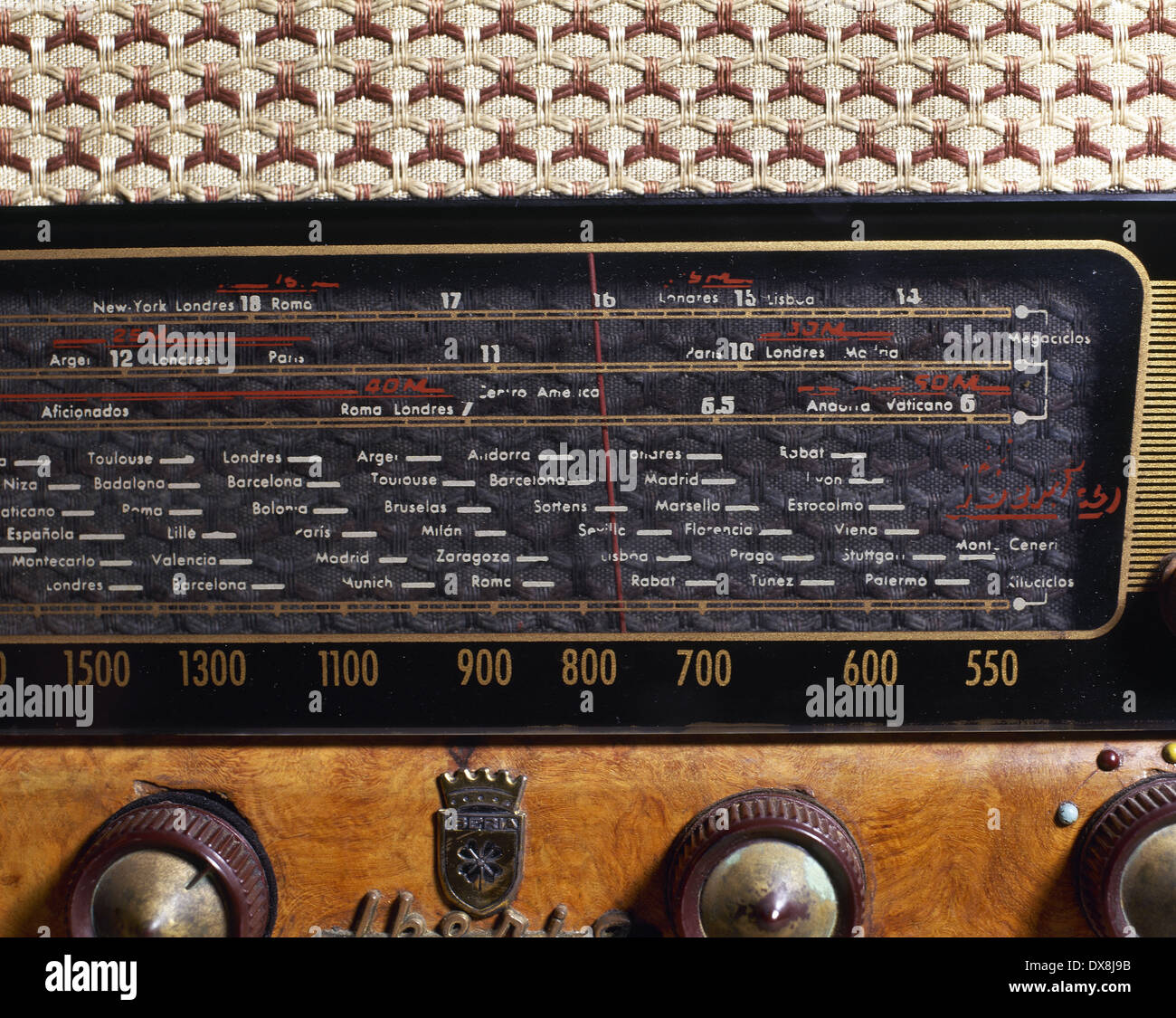 Ancient radio receiver. Brand Iberia. Dial's detail. - Stock Image