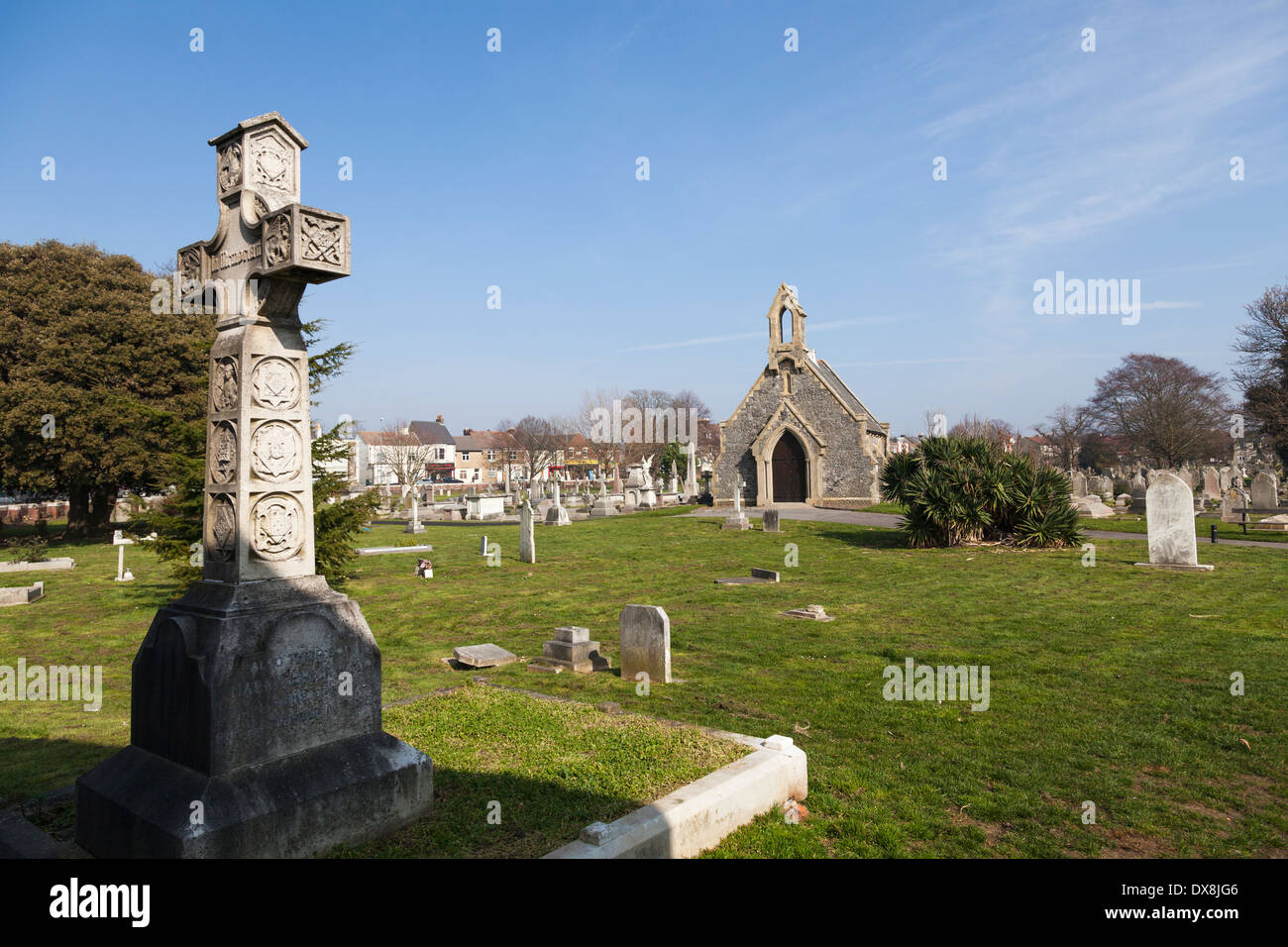 Anglican Chapel, Highland Road Cemetery, Southsea. - Stock Image