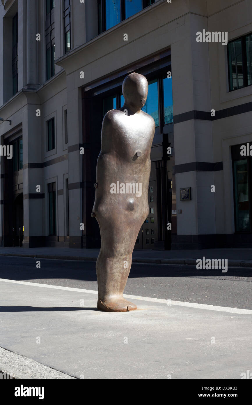 Parallel field sculpture by Antony Gormley in the city of London, UK - Stock Image