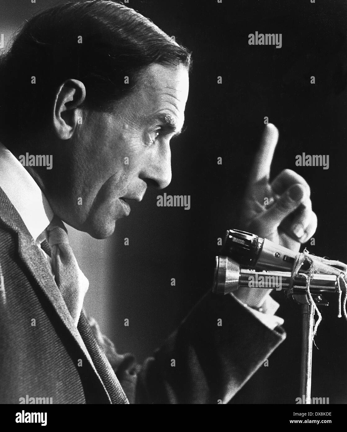 Jeremy Thorpe giving a speech in Newbury during the campaign for the 1974 General Election.Stock Photo