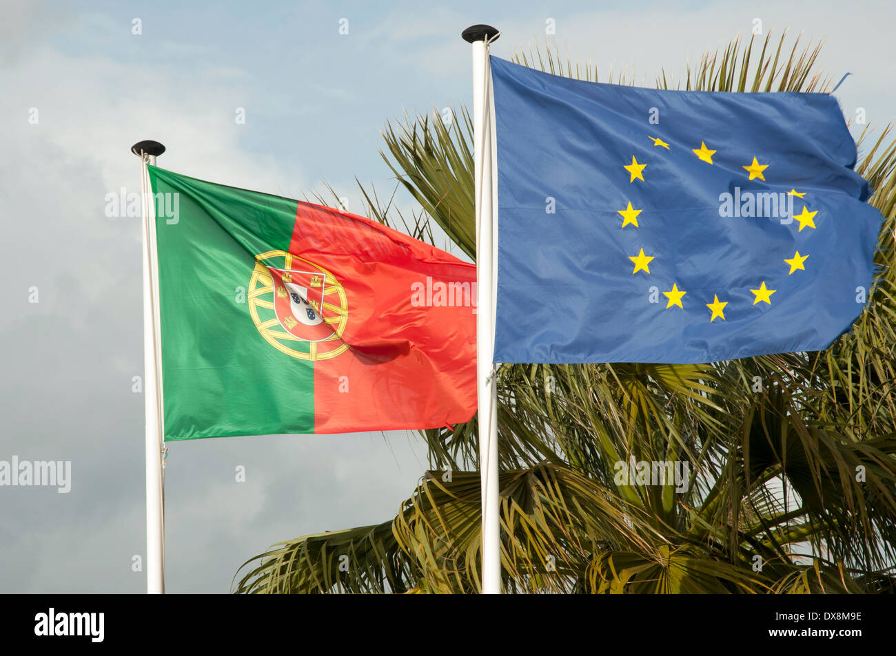 The portuguese and European Union flags - Stock Image