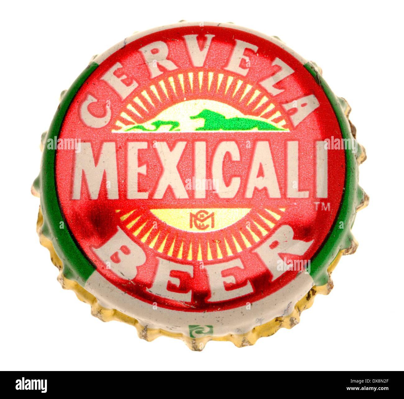 Beer bottle cap - Mexicali Cerveza - Stock Image