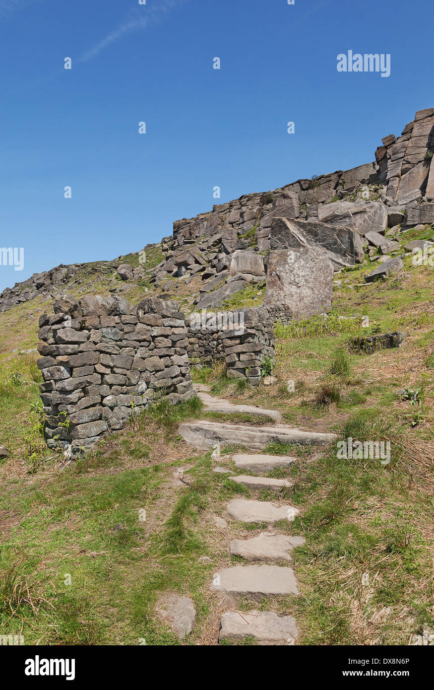 Path leading up to Stanage Edge Derbyshire England - Stock Image