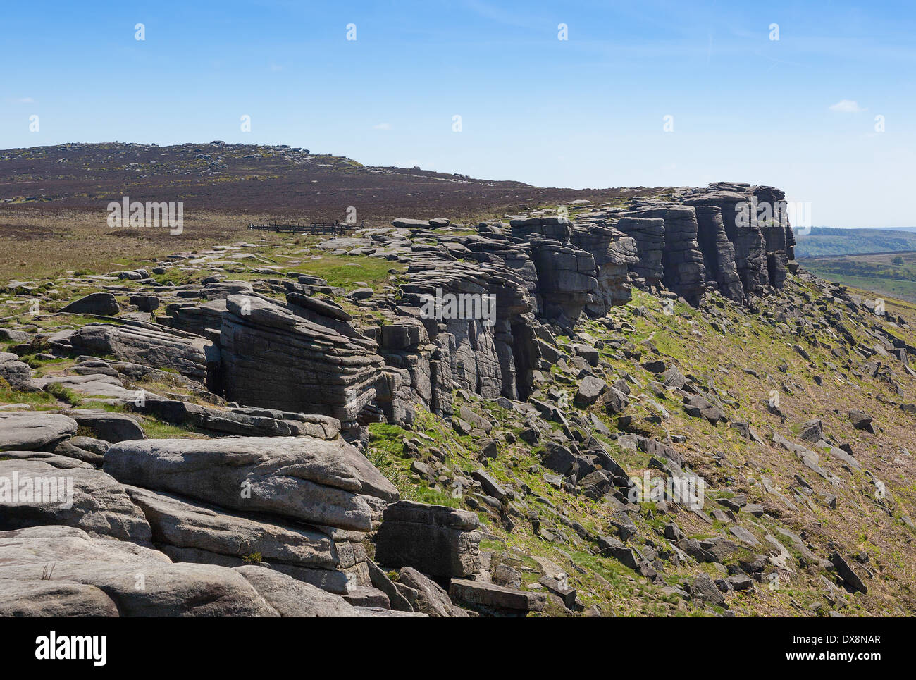 Stanage Edge in Derbyshire Peak District England - Stock Image