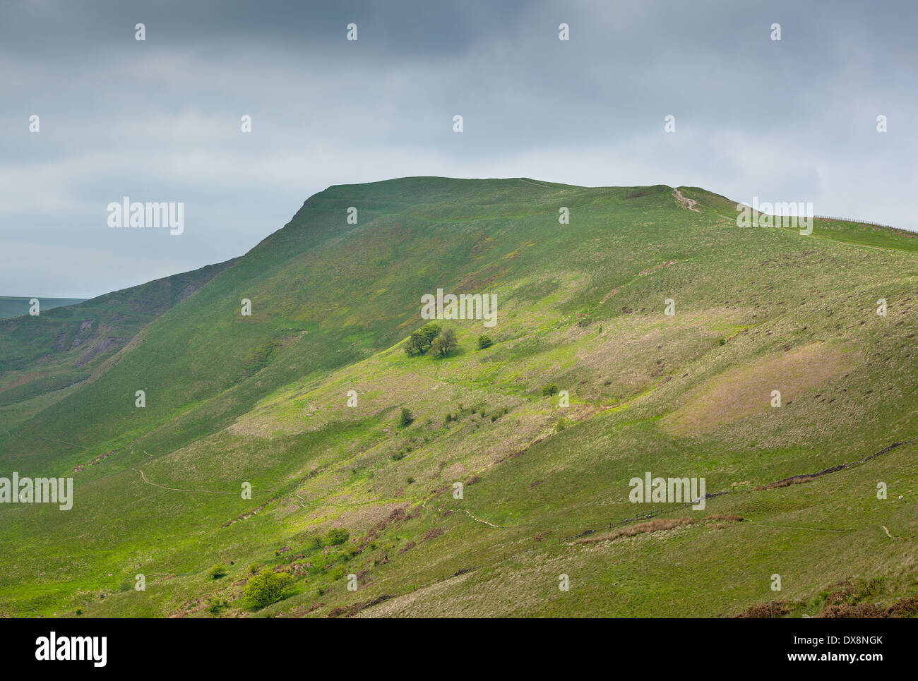 View along Mam Tor Derbyshire England with stormy sky - Stock Image