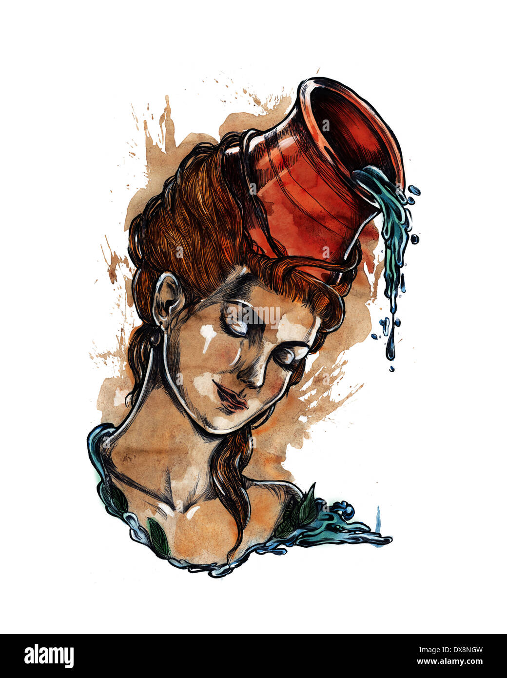Illustration of young woman with pot pouring water representing Aquarius zodiac sign - Stock Image