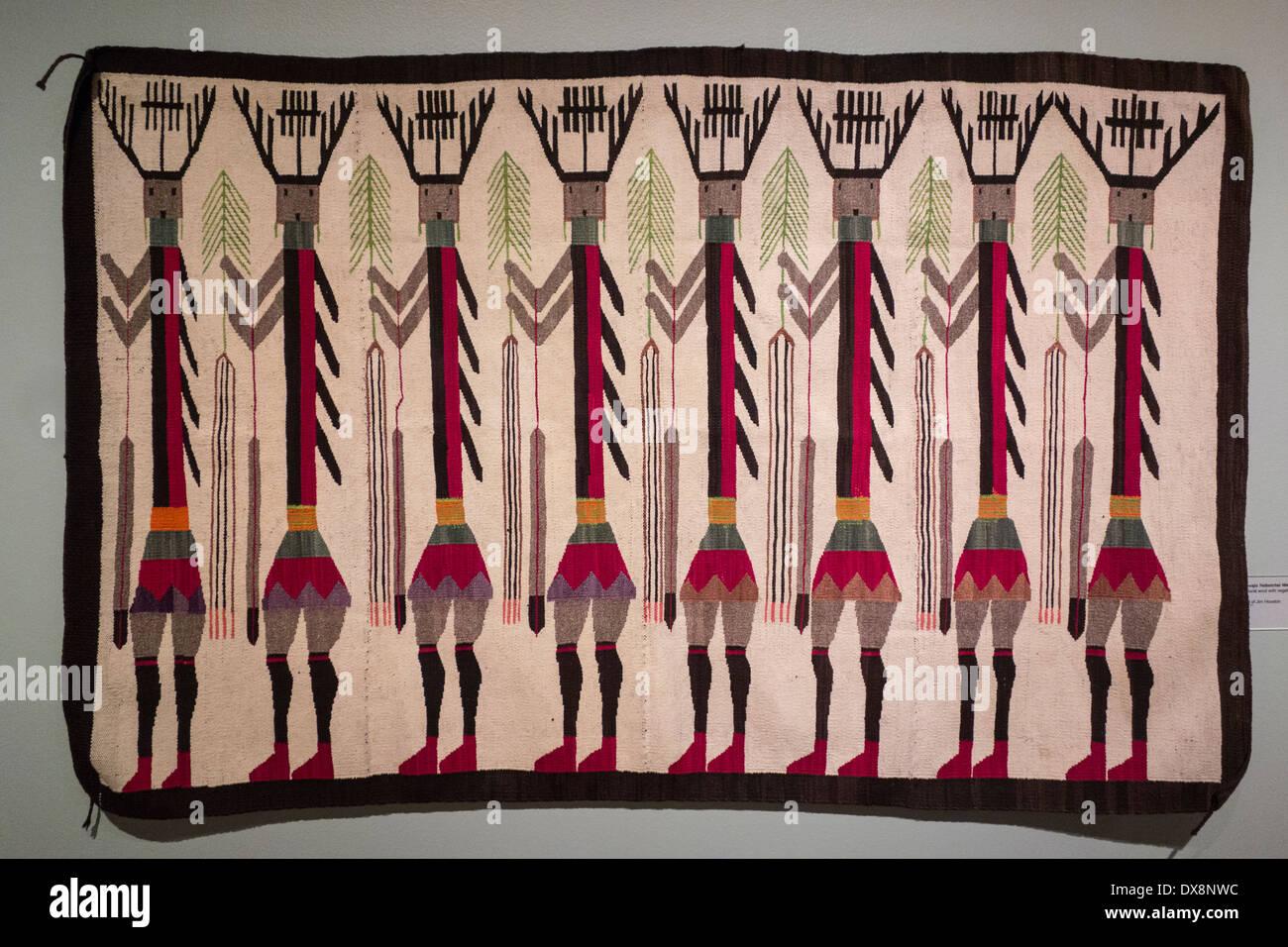 Navajo Yeibeichai weaving; Palm Springs Museum of Art; Palm Springs; California USA - Stock Image