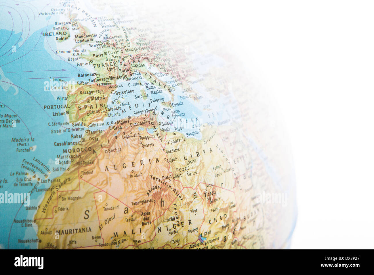 Map Of Europe On A Globe Stock Photo Alamy