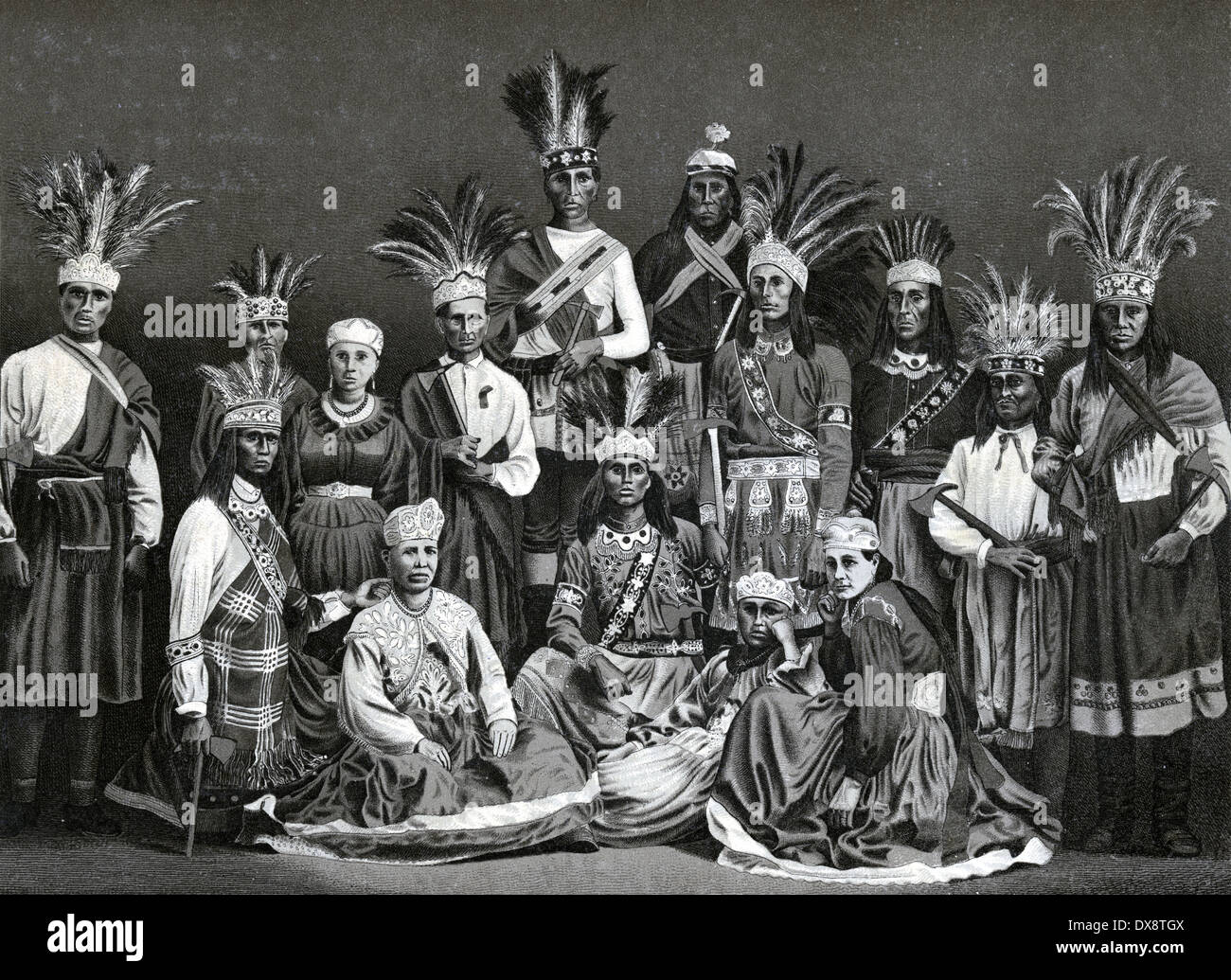 Circa 1885 view of Iroquois Indians in Montreal, Quebec, Canada. From an antique souvenir album using the Glaser/Frey lithographic process. - Stock Image
