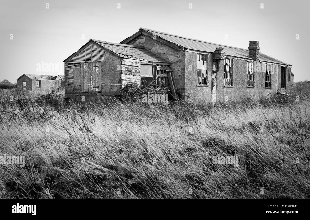derelict building at Stow Maries aerodrome - Stock Image