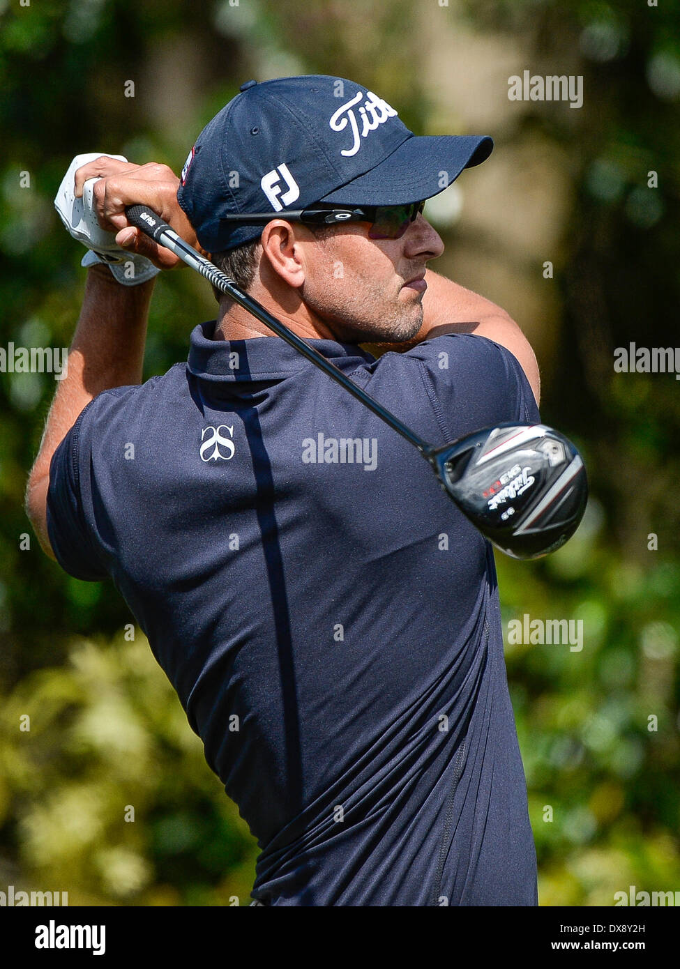 20th March 2014. Adam Scott on the 3rd tee during first round golf action of the Arnold Palmer Invitational presented by Mastercard held at Arnold Palmer's ...