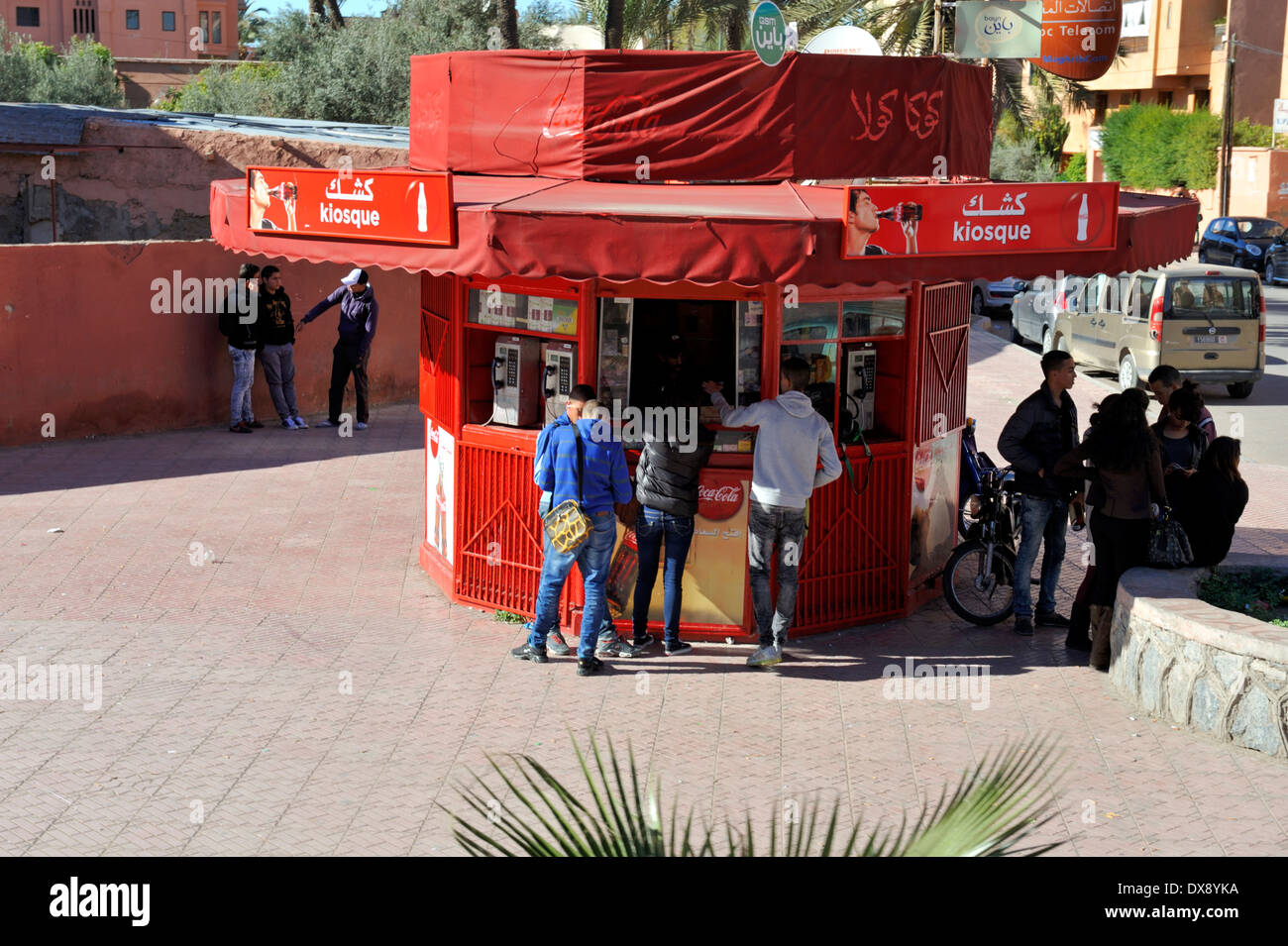 Kiosk Marrakech with snack food and telephone, Morocco - Stock Image
