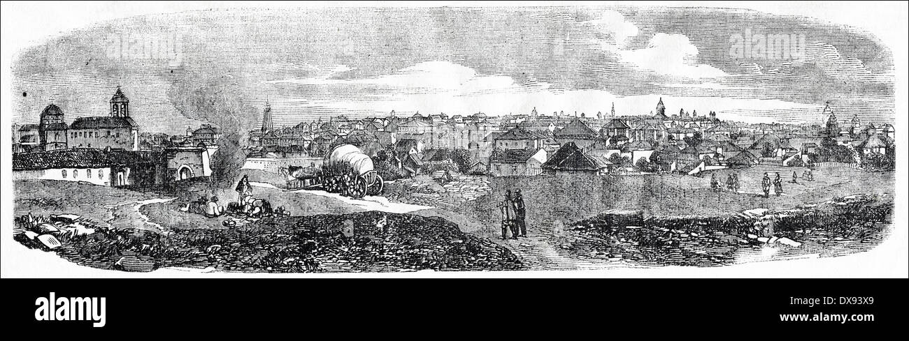 View of 19th century Bucharest, Wallachia, now Romania, when it was headquarters of the Russian Army during the Crimean War. Victorian engraving circa 1854 - Stock Image