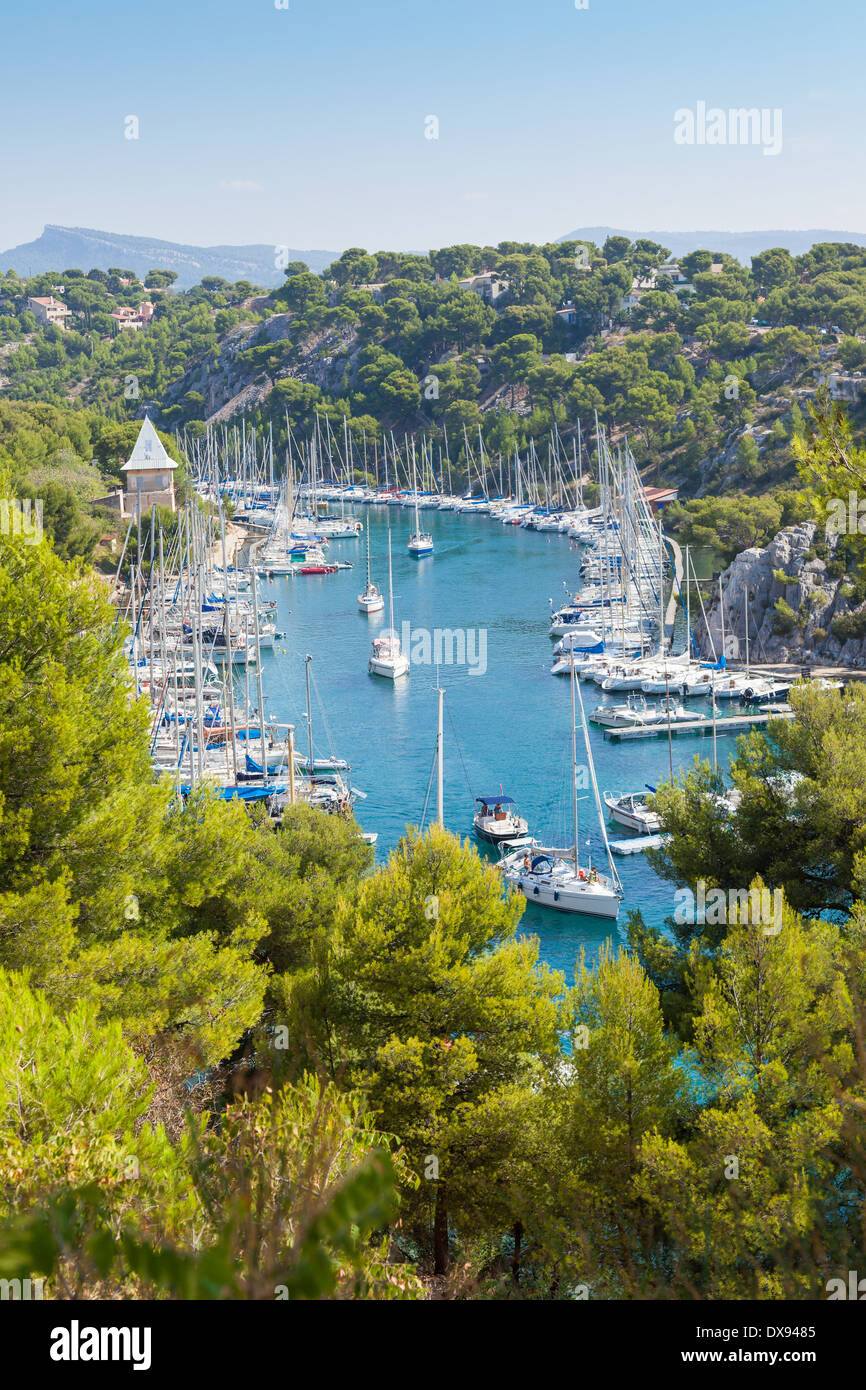 Calanque of Port Miou in Cassis in France - Stock Image