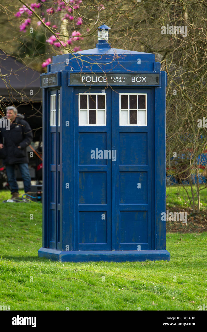 The TARDIS from Doctor Who is seen on location in Bute Park, Cardiff. - Stock Image