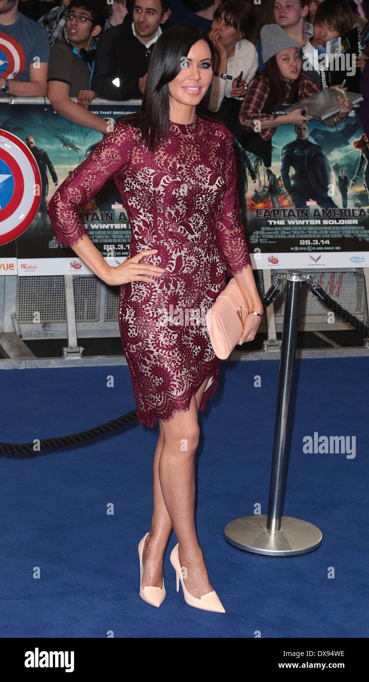 London, UK, 20th March 2014 Linzi Stoppard arrives at the UK Premiere of Captain America: The Winter Soldier at Stock Photo