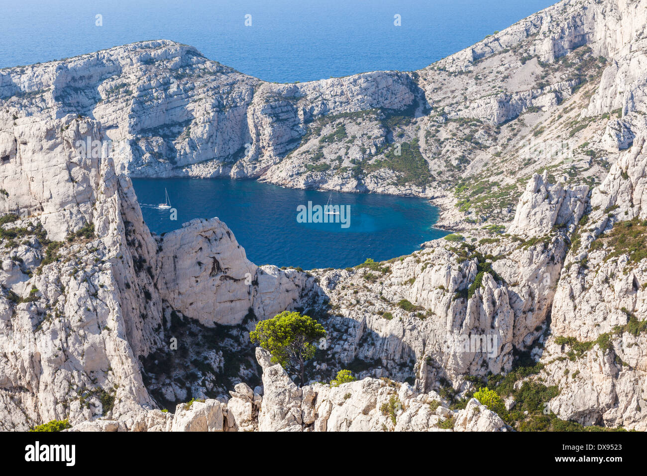 Calanques near Marseille and Cassis in south of France - Stock Image