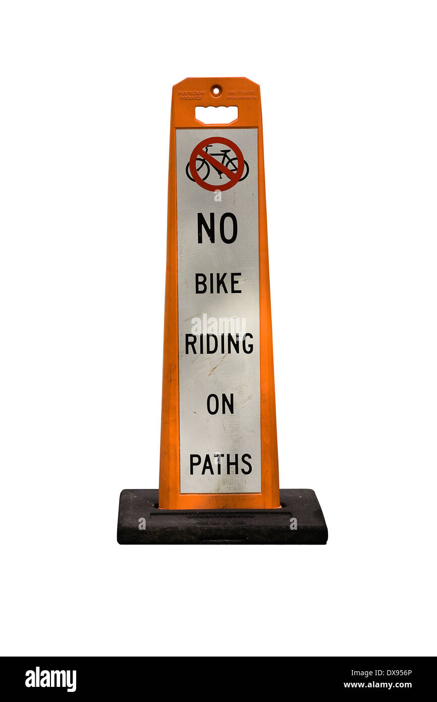Cut Out. Orange and White Placard on white background warning bicycle riders that there is no riding on city park - Stock Image