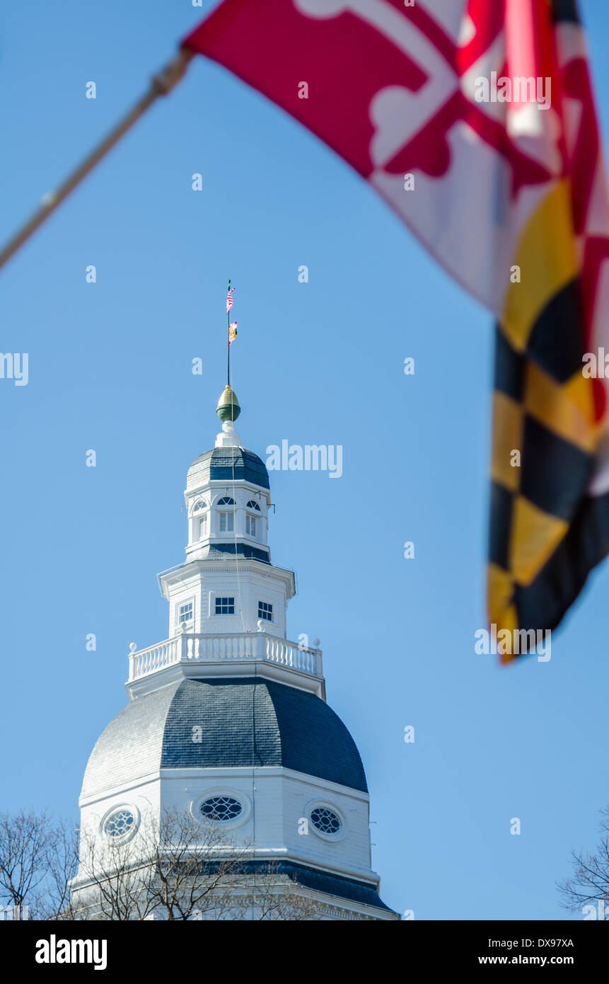 The Maryland State House in Annapolis, MD - Stock Image