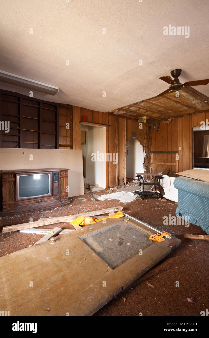 A Destroyed Living Room Inside An Abandoned House In The District Of Parry  Sound In Ontario