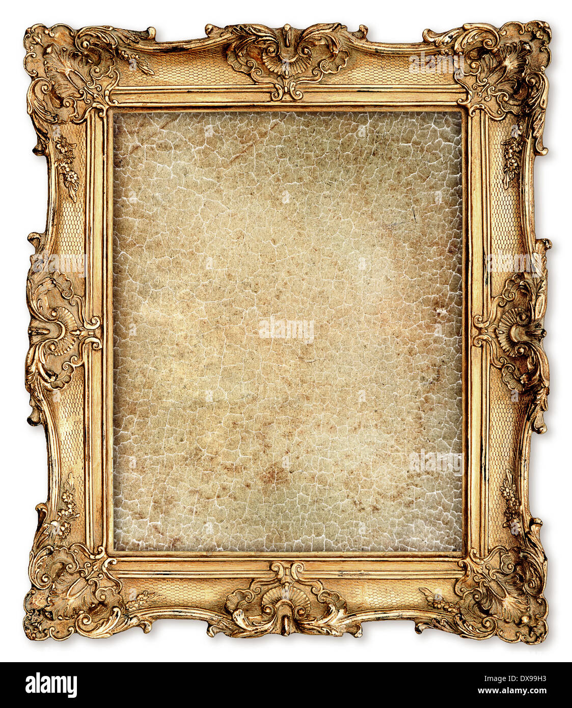 old golden frame with empty grunge cracked canvas for your picture ...