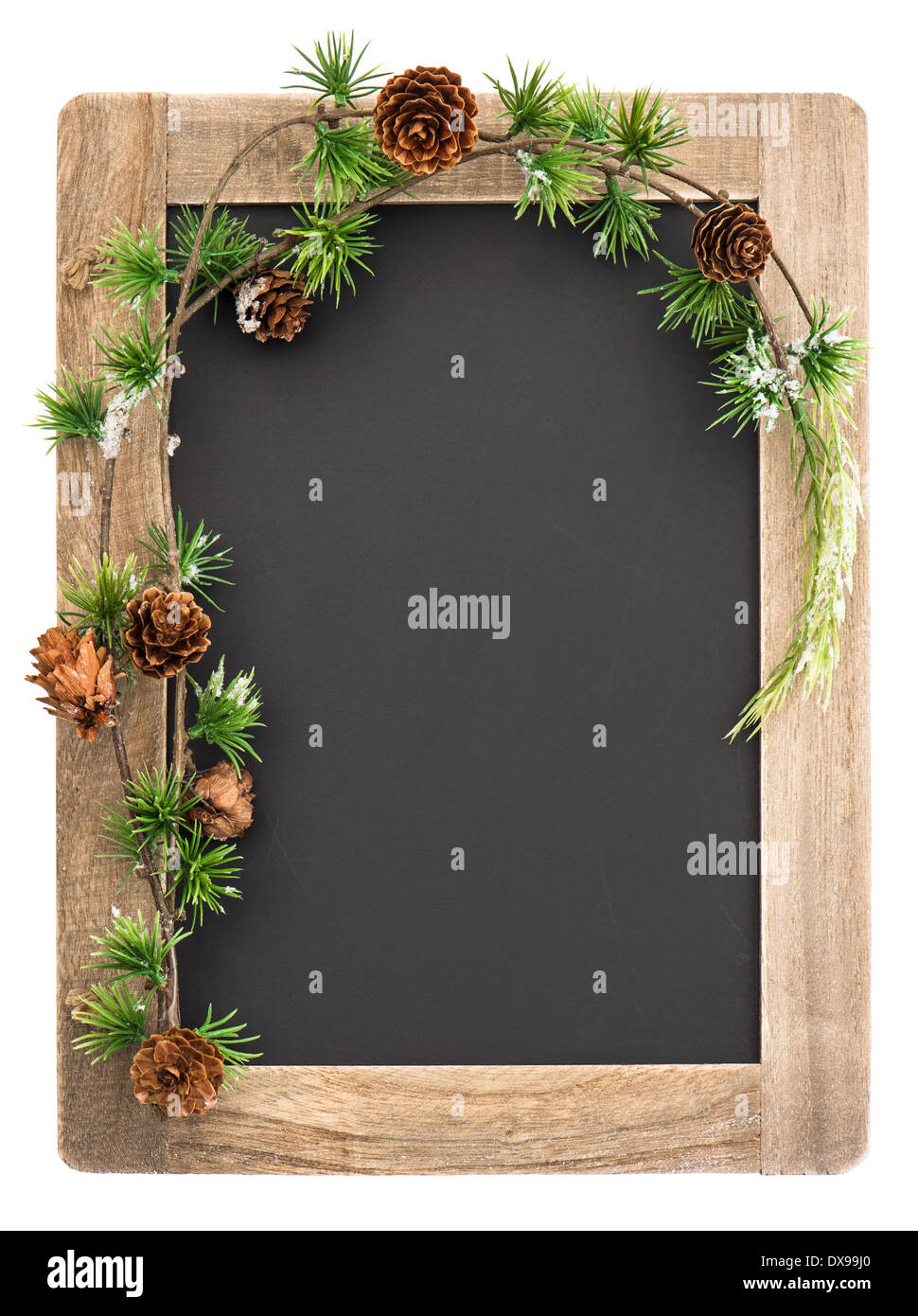 Chalkboard With Wooden Frame And Christmas Decoration Isolated On White Background Vintage Blackboard Place For Your Text
