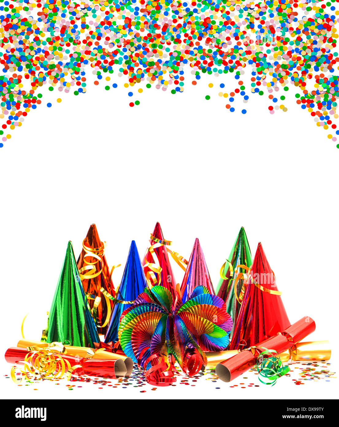 colorful garlands streamer party hats and confetti carnival birthday new year