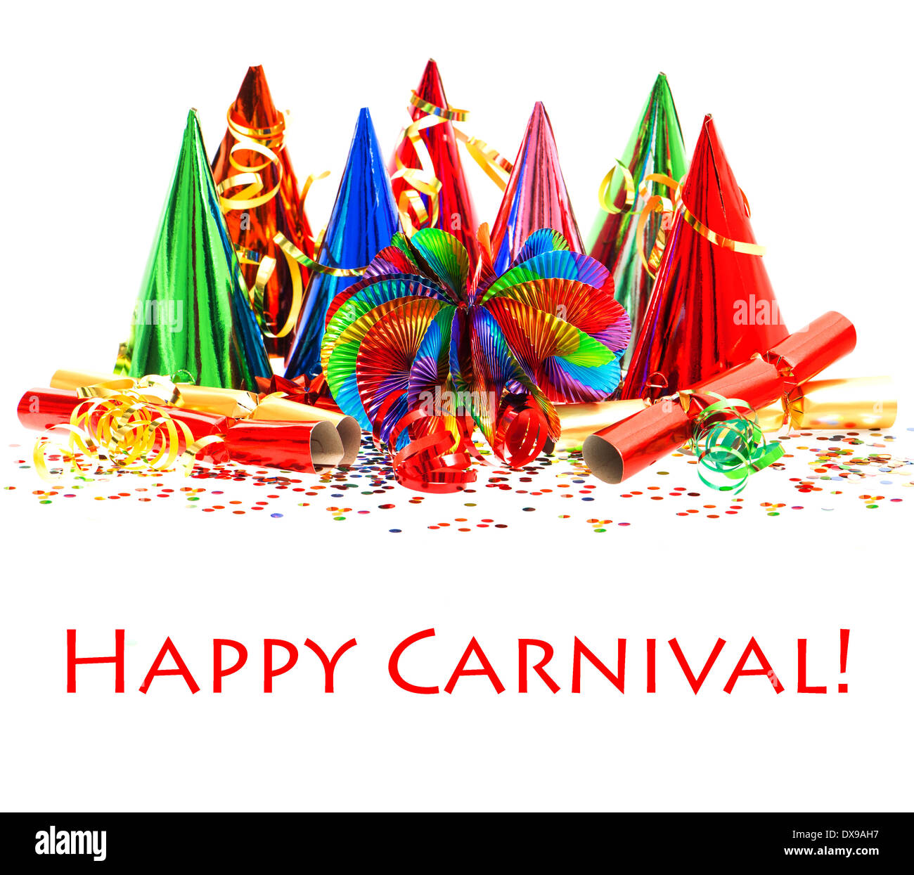 Festive Carnival Party Decoration Background With Colorful Garlands Streamer Hats And Confetti Over White Sample Text