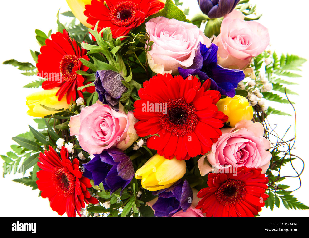 Closeup Of Colorful Spring Flowers Bouquet Pink Roses Red Gerbera