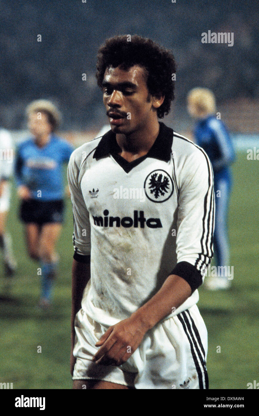 football, Bundesliga, 1979/1980, Ruhrstadion, VfL Bochum versus Eintracht Frankfurt 1:0, end of the game, leaving, Rigobert Gruber (Eintracht) - Stock Image